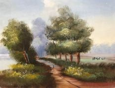 Unknown artist - Landscape next to a river