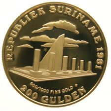 "Suriname – 200 Guilder coin 1981 ""One year of revolution"" Gold"