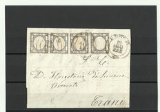 Italy 1861 - Neapolitan Provinces - 1 Grano, strip of four on letter from Lecce to Trani
