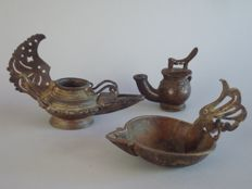 Three oil Lamps - Nias and Java - Indonesia