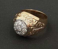 Men's diamond ring 750/18kt yellow gold with 8 brilliants - approx. 0.98ct in total. TW VS-VVS - free shipping