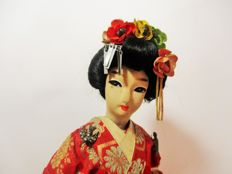 Rare Antique Gueisha doll made of cloth/fabric with hand painted face (40 cm height) - Japan - 1st half of the 20th century
