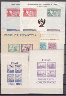 Spain 1936/1939 Civil War - lot of 52 national and republican zone sheets.