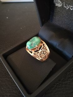 14 kt gold ring with turquoise – internal size 18 mm
