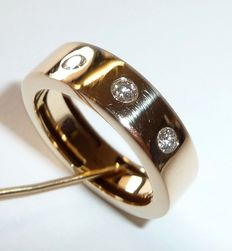 "14 kt / 585 gold flat wide-band ring by ""MONCARA"" with 3 brilliant-cut diamonds"