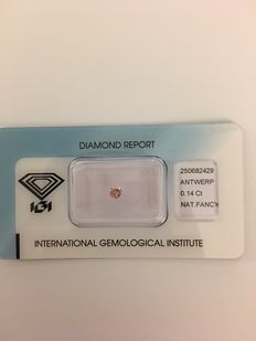 Natural Round Diamond of 0.14 ct - Fancy Pink - No Reserve Price.