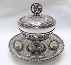 Puerperal cup in antique silver. Rosell. Barcelona, early 19th century.