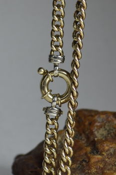 14 kt gold Italian necklace - Spring closure necklace - 13.1 grams!