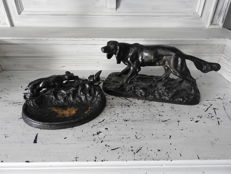 Two old cast iron hunting sculptures - monogrammed