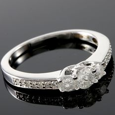 Estate 9 kt White Gold  Engagement Ring Set with Diamonds