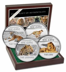 Congo - 4x 30 Francs - big cats 2011 - big cats of the Savannah - 4 silver coins with noble box and certificate