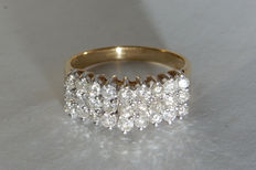 Splendid ring in gold with 3 rows of diamonds 1.08 ct signed Cardow