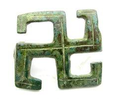 Ancient Roman Bronze Swastika Brooch / Fibula - 30 mm