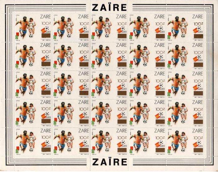 Congo-Kinshasa 1982/1982 - Zaïre 1990 - World Championship Football 1982, the wrong stamp overprinted with the new denomination, OBP 1413A in complete - OBP / COB 1413A