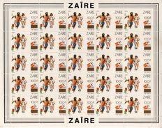Zaire 1990 - World Cup Football 1982 - reprint from Tranche B - #OBP 1413A in complete sheet of 25