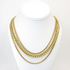 Signed MONET –  necklace - multi-strand - chain - gold tone