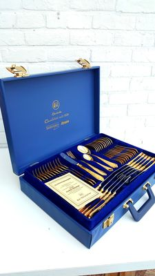 Solingen Germany - 70 - piece complete cutlery in cutlery case - 24 carat gold