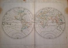 World; Nicolas SANSON d'Abbeville - Hydrography or Description of Water, this means the Seas, Gulfs, Lakes, Straits and Main Rivers that are in the Surface of the Earth Globe - 1652