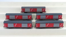 "Roco H0 - 4387A/46275/46281 - 5 Postal wagons ""PTT Post"" with different Company Numbers type Hbbkkss of the NS"