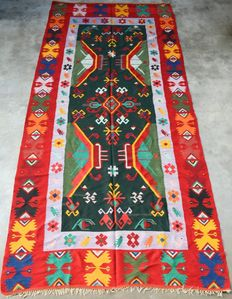 BIG MAGNIFICENT HANDWOVEN KILIM, -CAUCASUS- . 407 x 193 cm