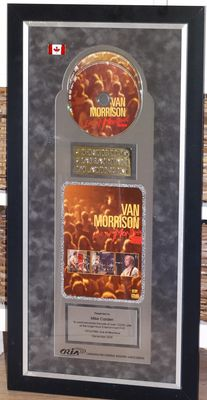"Official Van Morrison Platinum Dvd Record award Disc ""Live in Montreux"" 1974/80 Certified Canadian Cria"