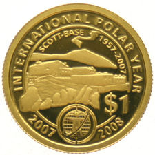 "Ivory Coast - dollar 2007, 1/25 oz. ""International Polar Year ""– gold."