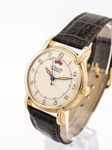 LeCoultre POWERMATIC Automatic men's watch with power reserve indicator, art deco, 1940s