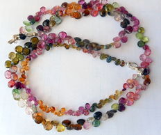 Parure – necklace with bracelet made of faceted tourmaline