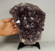 Large Amethyst crystal cluster with golden Goethite on stand - 25 x 19,5 x 5 cm - 4,275kg