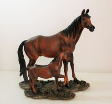 Vintage Gorgeous hand painted horse with baby