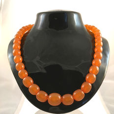 Antique Baltic amber necklace 1920s, 30.6 gr, natural amber, opaque and olive shaped beads