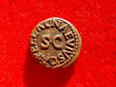 Roman Empire - Augustus (27 B.C. - 14 A.D.) bronze quadrans (2,88 g. 16 mm.) Rome mint 4 B.C. C NAEVIVS CAPELLA around S C. Ara.