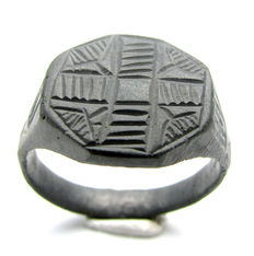 Medieval - Crusaders Bronze Ring with Cross Engraved on Bezel - 19 mm