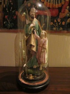 Bell jar with St. Joseph and baby Jesus - 1930s