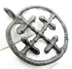 Medieval- Crusaders Period Discoid open-work Religious Pendant with Cross motif - 32mm