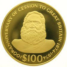 "Fiji – 100 dollars 1974 ""100th Anniversary of Cession to Great Britain"", gold"