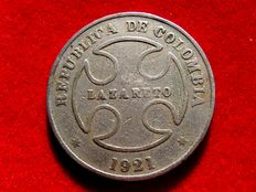 Colombian Republic – 50 cents. 1921. Lazareto. Very scarce.