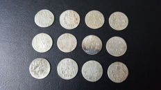 Holland - Double weapon penny 1733/1792 (12 pieces) - silver