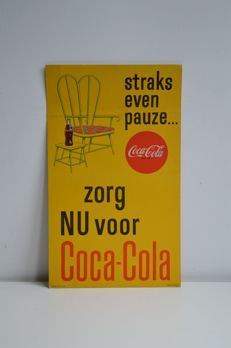 Rare cardboard Coca-Cola advertising sign, probably from the 60s