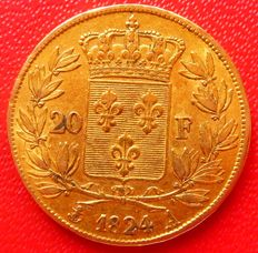 France – 20 Francs, 'Louis XVIII'  1824-A – Paris – Gold