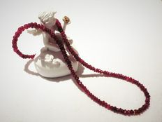 Ruby necklace with silver clasp and separators