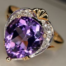 Engagement ring  with beautiful tea drop faceted Amethyst approx. 3.6ct and small diamonds H/VS.