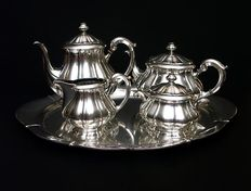 Silver coffee and tea service with tray, Lutz & Weiss, Germany, XIX/XX c.