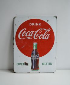 Enamel advertising sign for Coca Cola, from the 50s, Langcat Bussum.