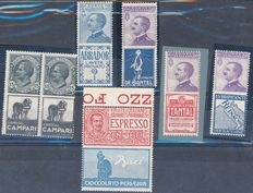 Kingdom of Italy, 1824-25 - Advertising stamps - Sassone 2017 # 1, 4, 12, 14, 18, 21 - €2,875.