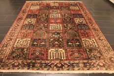 Semi Antique handwoven PERSIAN Oriental carpet from around 1960, fields, Bachtiar Bachtiari, made in Iran, 212 x 294 cm