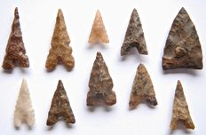 Lot with 10 Neolithic arrowheads - 19-36 mm (10)