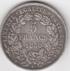 France - 5 Francs 'Cérès' 1850-K Bordeaux - Silver