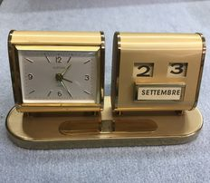 "Table Clock with Calendar - ""Europa,"" 7 jewels  - Vintage"