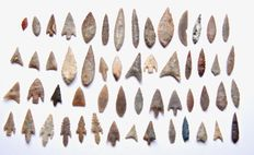 Lot with 55 Neolithic arrowheads - 13-55 mm (55)